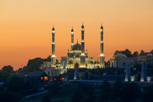 Mosque On The Background Of A Beautiful Sky At Sunset