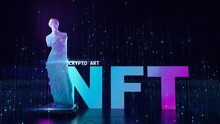NFT Non Fungible Tokens Crypto Art On Colorful Abstract Background. Glowing Low Poly Statue Of Venus With Chip Pay For Unique Collectibles In Games Or Art. 3d Render Of NFT Crypto Art Collectibles