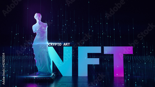 Foto NFT non fungible tokens crypto art on colorful abstract background