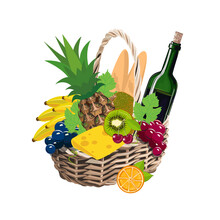 Vector Illustration Of A Picnic Basket With A Bottle Of Wine, Grapes, Pineapple, Kiwi, Cheese, Cherries, Bananas, Bread And Orange Isolated On A White Background.