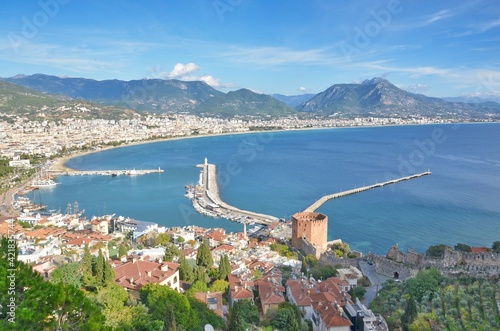 Fototapeta High Angle View Of Sea And Alanya Cityscape Against Sky