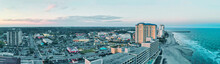 Panoramic Aerial View Of Myrtle Beach Skylineon A Sunny Day From Drone Point Of View, South Carolina