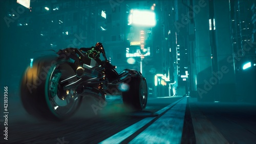 Tela Cyborg rides a huge speed on the motorcycle of the future through the neon streets of the night cyber city
