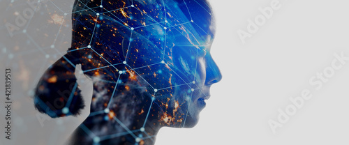 Double exposure of business woman with The World of Futuristic internet communication concept.Elements of this image furnished by NASA.