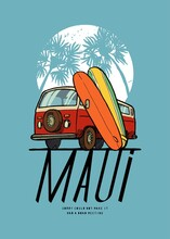 Surfing Bus Maui Summer Sports Vintage Illustration T-shirt Print.