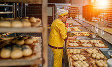 The Bakers Greases The Buns With Sunflower Oil For Further Baking. Automated Production Of Bakery Products. Bread Factory.
