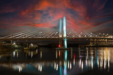 Looking South At Sunset At The Cable Stayed Tilikum Bridge Over The Willamette River In Portland Oregon