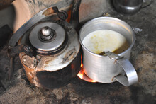 Closeup Of A Roadside Tea Stall, Grungy Rest Stop While Traveling