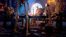 Party At The Creepy Skeletons In A Mystical Medieval Dungeon. Mystical Nightmare Concept. 3D Rendering.
