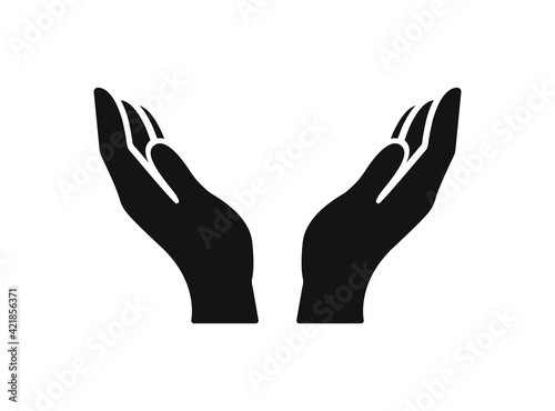 Vector protecting hands icon. Cupped hands
