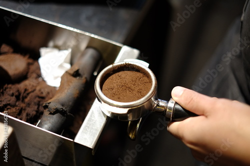 Fotografering Close-up Of Hand Holding Coffee Cup