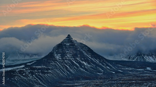Stampa su Tela Scenic View Of Snowcapped Mountains Against Sky During Sunset