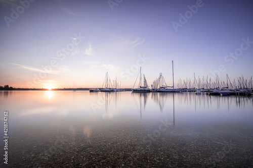 Canvas Print Sailboats In Sea Against Sky During Sunset