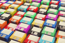 Lots Of Brand New Colorful Floppy Disks.