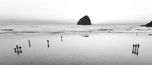 Beach, Surf, Sand, Large Rock, Seaside, Swimmers On The Beach, Black And White, Silhouettes, Waves, Water, Standing, Ocean