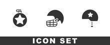 Set Canteen Water Bottle, American Football Helmet And Military Icon. Vector