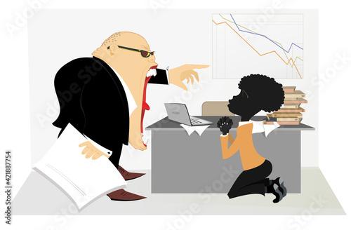 Canvas Print Caucasian boss scolds an African employee illustration