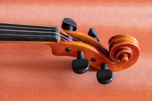 Detail Of A Viola, A Stringed Musical Instrument, Similar To The Violin But Larger And With A Lower Sound. Its Range Is Between The Highs And Lows Of The Violin And The Lows Of The Cello.