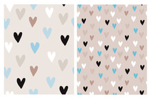 Cute Hand Drawn Irregular Romantic Vector Patterns With White, Black, Blue And Brown Hearts Isolated On A Light Brown And Beige Background. Funny Infantile Style Hearts Print.