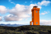 Lighthouse On The Seashore In The Iceland. Icelandic Landscape In The Summer Time. Famous Place. Iceland Travel Image