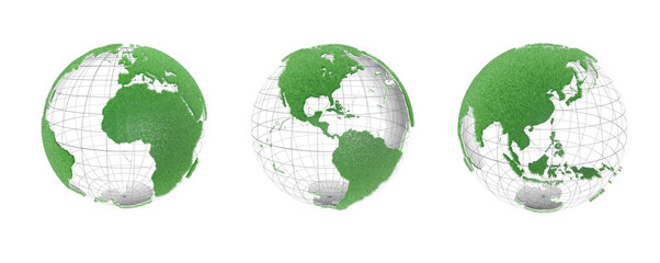 3d illustration of the globe rotating on its axis in space. Grassy continents, showing transparent meridians and parallels. On white background.
