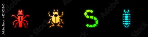 Fotografering Set Termite, Beetle bug, Worm and Centipede icon. Vector