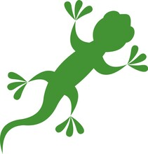 Vector Illustration Of Green Silhouette Of A Lizard