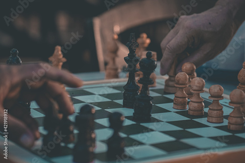 Low Angle View Of Man Playing On Chess Board Fototapet