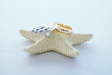 Close-up Of Wedding Rings On Starfish On White Background