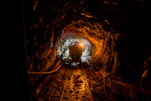 The Tunnel In An Abandoned Mine In Serbia