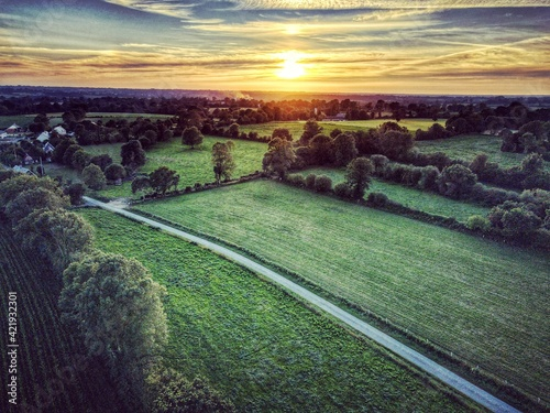 Scenic View Of Landscape Against Sky During Sunset Fototapete