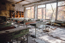 View Of Abandoned School Building In Chernobyl
