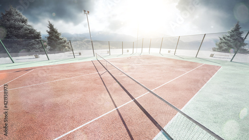 Fototapeta Tennis court. Sunshine. View from above. Mountain in the background. Tennis background obraz