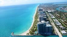 Aerial View Of Bal Harbour Beach, Miami Beach, South Beach, Florida From A Seaplane.