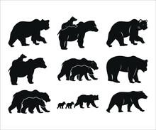 Bear Printable Vector Illustration, Cute Baby Bear, Baby Bear Clipart, Silhouette, Teddy Bear, Mama Bear, Daddy Bear Vector