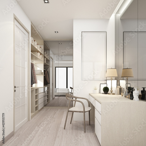 Fotografering walk-in closet wood and white texture with dressing table 3d rendering