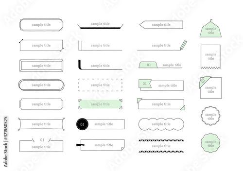 Fototapeta 手描きフレーム 細線イラストセット C 手ブレあり/シンプルでかわいい素材 obraz