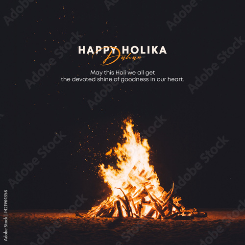 Tela Holika Dahan celebration poster. Happy Holi Banner.