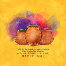 "Beautiful And Creative ""Holi Font"" On Decorative Colourful Grungy Background For The Festival Of Holi."