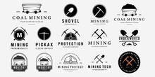 Set Bundle Mining Vintage Line Art Logo, Illustration Mine Cart Pickaxe Helmet Shovel Vector Design