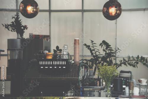 Fotografering espresso coffee maker machine in cafe shop