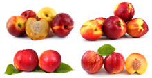 Nectarines With Leaves Set