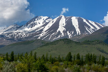 A View Of Mount Erciyes Near Kayseri In The Cappadocia Region Of Turkey. Traces Of Snow Can Be Seen Clinging To The Valleys Of The Mountain.