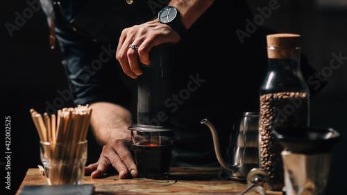 Obraz Barista Brewing Air Press Coffee - fototapety do salonu