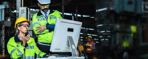 Fotografie, Obraz group of engineering engine machine controller control  on monitor, technical en