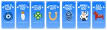 Banners Good Luck Charms: Maneki Neko, Horseshoe, Four-leaf Clover, Dala Horse, Nazar Amulet, Hamsa, Rabbit's Foot. A Set Of Illustrations Of Symbols Of Good Luck, Success, And Prosperity.