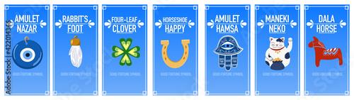 Photographie Banners good luck charms: maneki neko, horseshoe, four-leaf clover, dala horse, nazar amulet, hamsa, rabbit's foot