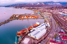 Batumi, Georgia - March 1, 2021: View Of The Seaport During Sunset
