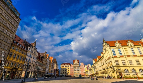 Fototapeta Stary Rynek we Wrocławiu kamienice panorama obraz