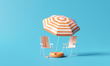 Beach Umbrella With Chairs And Beach Accessories On Blue Background. Summer Vacation Concept. 3d Rendering